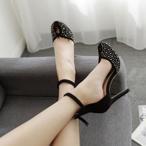 Naked Powder Rhinestone Princess Shoes Baotou Sexy Super High Heel  Shoes