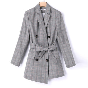 Blazers Female Plaid Blazer Jacket Office Lady Slim Gray  Outwear Plus Sizes Talever