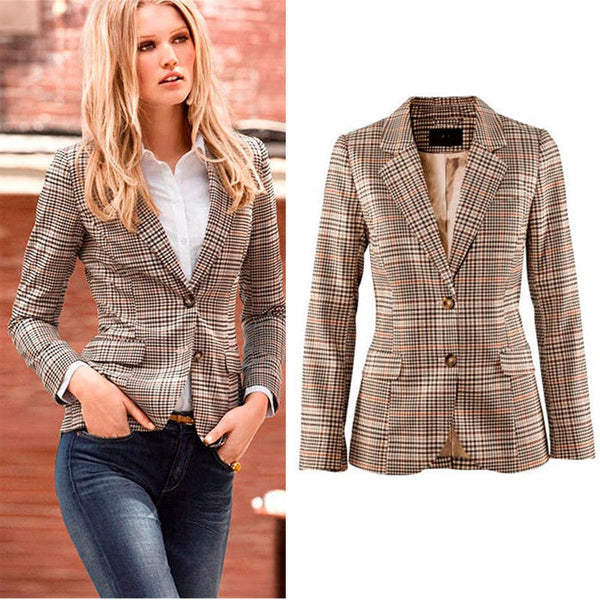 Autumn Womens Casual Plaid Blazers Jackets Coat