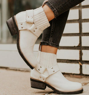 Women Ankle Boots Ladies Vintage PU leather Chunky Booties