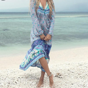 Sexy Bohemian Print Deep V-neck Long Dess  Fashion Tassel Lantern Sleeve