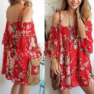 Short Floral Party Beach Evening Mini Casual Dresses For Female
