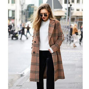 Autumn Winter Plaid Blazer Women Casual Work Jacket Coat