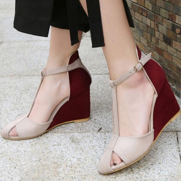 Elegant  High Wedges Sandals Ankle Strap Hollow Out Wedges  Shoes