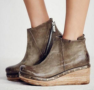 Women Vintage Ankle Boots Wedge Shoes