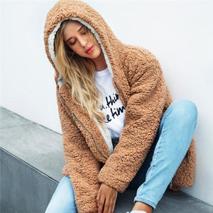 Solid Hoodies Elegant Winter Teddy Coat Streetwear Warm Ladies Outwear