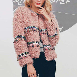 Faux Fur Teddy Coat Women Autumn Winter Casual Tassel Sherpa Fur Jacket Outwear