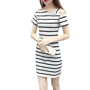 Boat Neck Oblique Shoulder Cotton Striped Short Sleeve Casual Dress