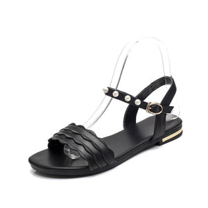 Genuine Leather Women Sandals Simple Comfortable Ladies Flat Black Shoes