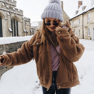 Women Faux Fur Teddy Bear Coat Spring Winter Fluffy Warm Jackets Outwear