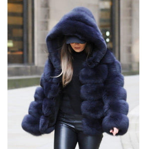 Winter Thick Warm Faux Fur Teddy Coat Women Plus Size Hooded Jacket