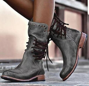 zapatos mujer sapato women mid-calf matin boots ladies chaussure girl vintage PU leather booties shoes woman warm lace up TA0184