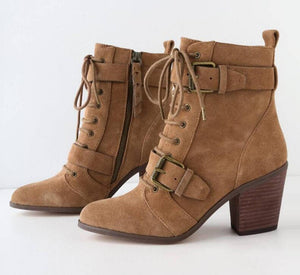 Women Ankle Boots Matin Shoes Vintage High Heels Booties