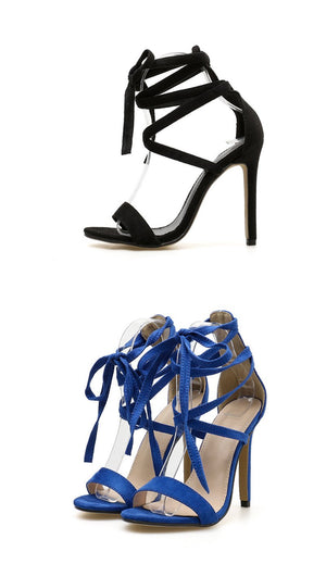 Women's Wild Strappy Heels Sandals  Fish Mouth Cross Straps Ultra-high Heels Shoes
