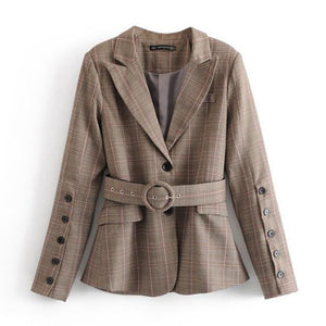 Notched Collar Plaid Blazer With Belt Casual Jacket Coat Outerwear