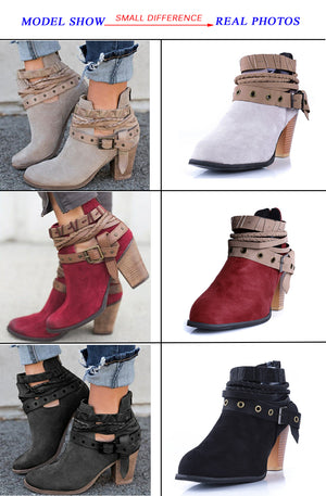 Women Boots Fashion Casual Ladies Shoes Suede Leather Buckle boots
