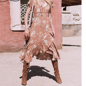 Floral Print  V Neck Lace Bohemian Midi Tunic Dress Boho Style