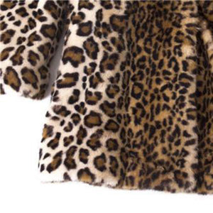 Fashion Faux Fur Teddy Bear Coat Women Warm Vintage Leopard Print Jacket