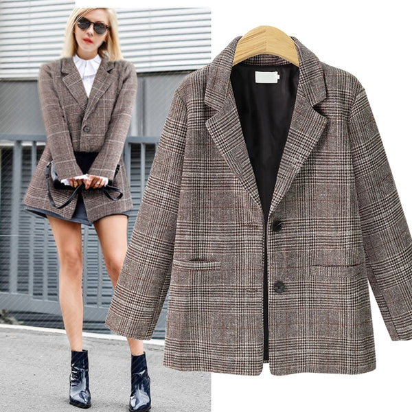Autumn Winter Fashion Womens Casual Plaid Blazers Outerwear Jackets