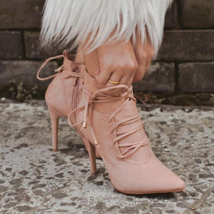 Lace-up Sexy Winter Ankle Boots Women High Heels Pointed Toe