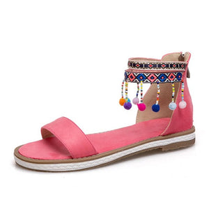 Bohemia Flats Beading Embroidery Zipper Flats Sandals Summer Vacation