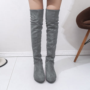 Women's High Boots Shoes Fashion Women Over The Knee Boots 2018 New Autumn Winter Flock Botas Feminina Thigh High Boots Ladies