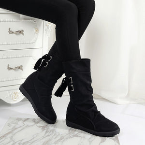 Women Autumn Winter Snow Boots Flat  Heels