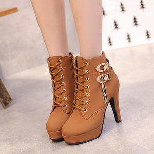 Autumn Lace Up boots High Heel Women's Shoes