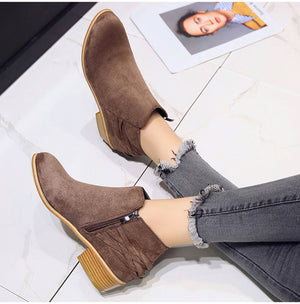 Women Casual Block Heel Ankle Boots Autumn Suede Vintage Shoes
