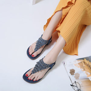 Elegant Clip Toe Flip Flops Ladies Sandals Fashion Bohemia Style Flat Beach Shoes