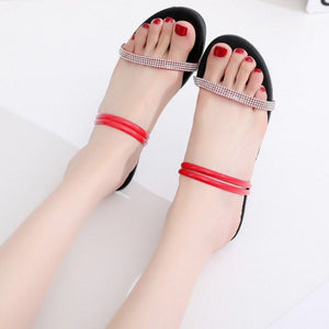 Open Toe Bling Flat Heel  Sandals Simple Fashion  For Beach Daily Footwear