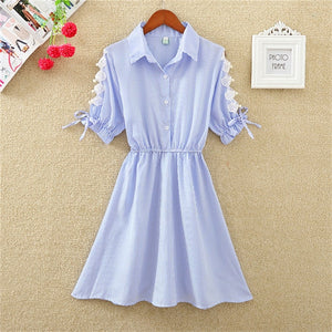 Office Shirt Elegant Blue Stripped Cotton Turn Down Dress