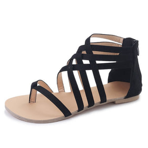 Women Gladiator Sandals Flat Rome Style Cross Tied Shoes