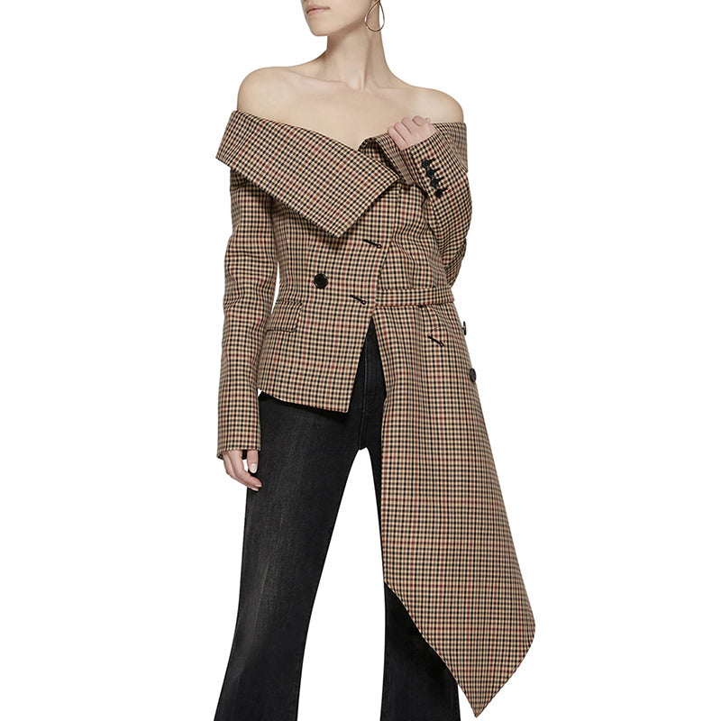 Plaid Blazer Tops Irrgular Patchwork Slash Neck Lace up Women Jacket Coat