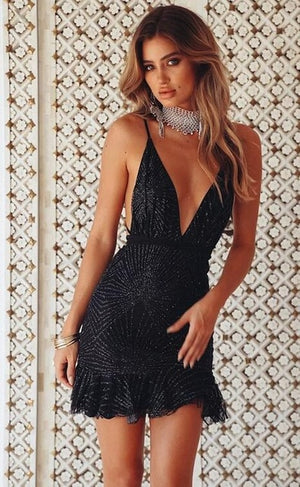 Sexy Bandage Sequins Backless Bodycon Elegant Nightclub Party Dresses
