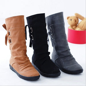 HEE GRAND 2018 New Women Fashion Boots Autumn Shoes with Lace-up Mid-Calf Solid Flat Heels PU Boots Mujer Shoes XWX7001