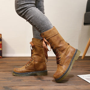 Leather Vintage Boots Women Long Boots Lace up Autumn And Winter Booties Shoes