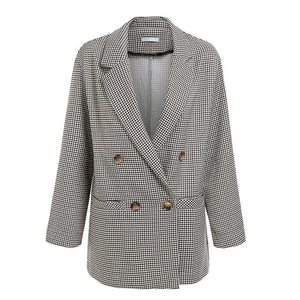 Womens Casual Houndstooth Plaid Blazer Autumn Winter Jacket Coats