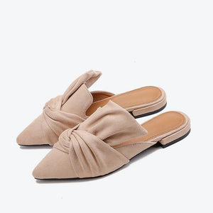 Spring Summer Women Slippers Flock Bowtie Sandals Shoe Pointed Toe Plus Size