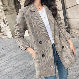 Womens Casual Plaid Blazers Autumn Spring Jacket Outfit