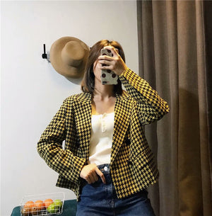 Yellow Autumn Womens Casual Blazers Houndstooth Winter Jacket Office Lady Tops