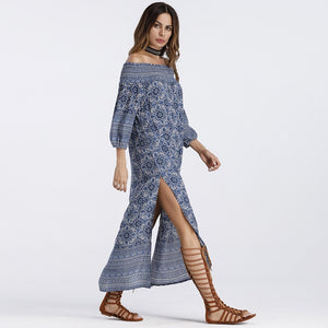Off Shoulder Split Slash Neck Long Maxi Print Bohemian Dress
