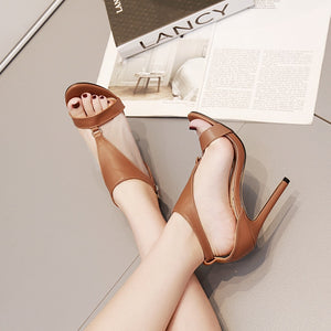 The new sandals women peep-toe heels brown shoes