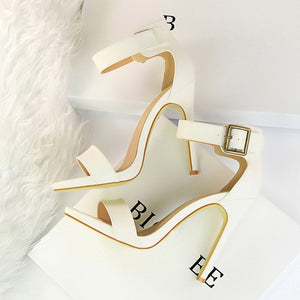 Women's Shoes High Heels PU Leather Sandals Summer Wholesale Nude Sexy Pumps