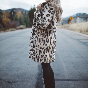 Luxury Faux Fur Teddy Coat Leopard Print Winter Jacket Women Outerwear