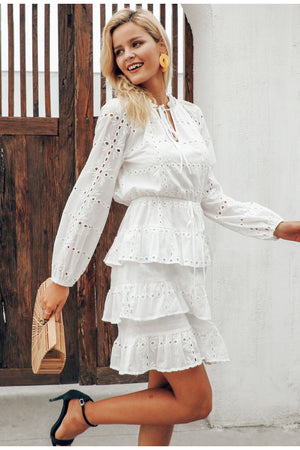 Elegant Hollow Out White Embroidery Ruffles Lace Up Streetwear Bodycon Dress
