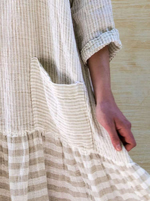 Vintage Mid-calf O Neck Long Sleeve Casual Loose Striped Splicing Dress