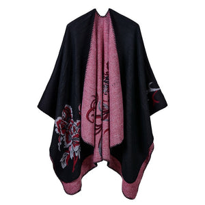Winter Women Poncho Warm Wool Capes