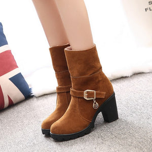 Fashion Women Winter Snow Boots Warm Fur Suede Martin Boots