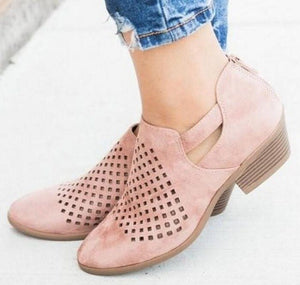 Women Ankle Boots Pumps Mid Heels Cusual Booties Shoes
